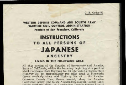 Instructions to all persons of Japanese ancestry, C.E. Order 92 (ddr-csujad-55-1938)