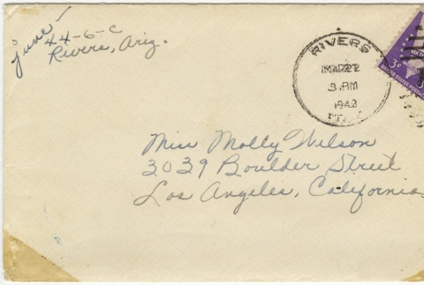 Letter (with envelope) to Molly Wilson from June Yoshigai (March 21, 1943) (ddr-janm-1-82)