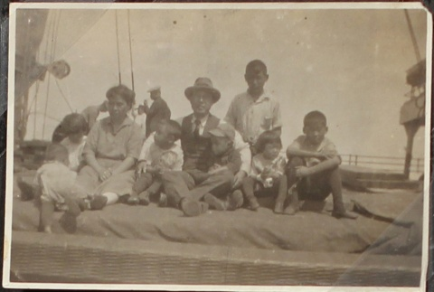 Japanese American family on a boat to Japan (ddr-densho-259-11)