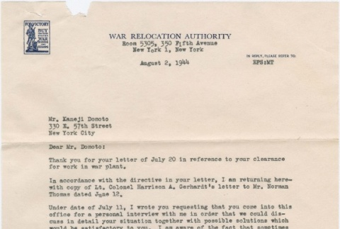 Correspondence from WRA and War Department officials regarding work clearance (ddr-densho-329-69)