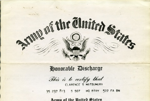 Certificate of honorable discharge (ddr-densho-22-92)