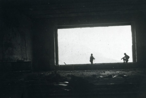 522nd Field Artillery Battalion soldiers looking out from the interior of the Eagle's Nest / Kehlsteinhaus (ddr-densho-22-133)