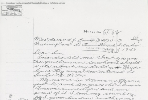 Letter from Miriam Koyama to Edward J. Ennis, Director Enemy Alien Control Unit. Page 1 of 2. (ddr-one-5-211)