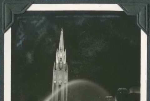 Night view of a tower and fountain at the Golden Gate International Exposition (ddr-densho-300-174)