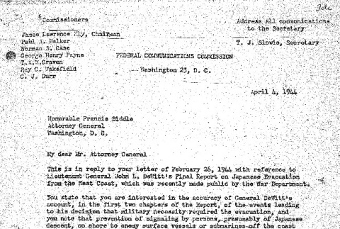 Letter from the FCC to Francis Biddle (ddr-densho-67-76)