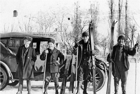 Issei men on a skiing trip in Ogden Canyon (ddr-densho-162-25)