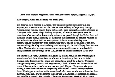 Letter from Tsuruno Meguro to Fumio Fred and Yoneko Takano, August 17-20, 1942, English translation (ddr-csujad-42-72)