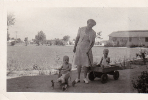A woman with two toddlers (ddr-densho-315-24)