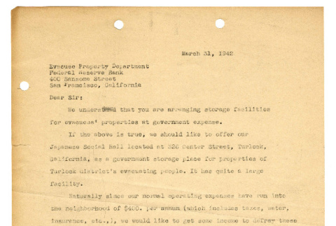 Letter from Tsuneo Iwata to Evacuee Property Department, March 31, 1942 (ddr-csujad-46-15)