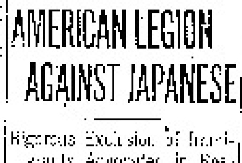 American Legion Against Japanese. Rigorous Exclusion of Immigrants Advocated in Resolution at Cleveland. (September 29, 1920) (ddr-densho-56-352)