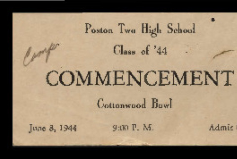 Poston Two High School Class of '44 commencement ticket (ddr-csujad-55-1848)
