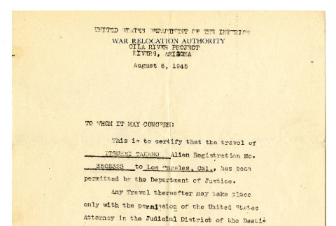 Letter from Henry C. Freeland, Leave Officer for L. H. Bennett, Project Director, Gila River Project, War Relocation Authority, United States Department of the Interior, August 6, 1945 (ddr-csujad-42-117)