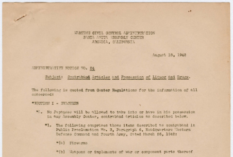 Administrative Notice No. 24 Contraband Articles and Possession of Liquor and Drugs (ddr-densho-356-801)