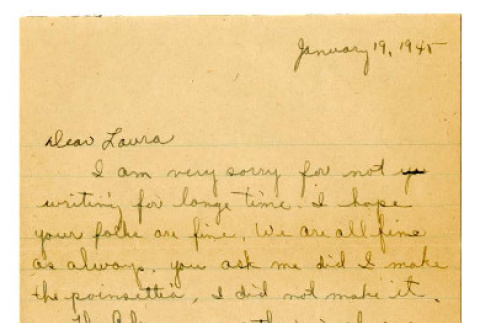 Letter from Emiko [Amy] Terada to Miss Laura Thomas, January 19, 1945 (ddr-csujad-4-22)