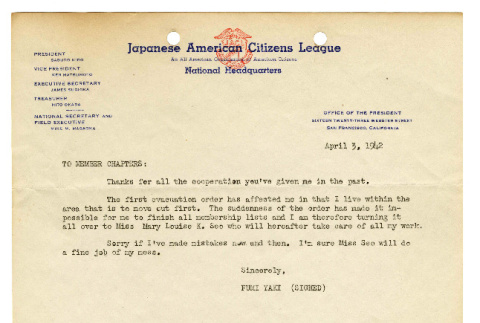 Letter from Fumi Yaki to Japanese American Citizens League member chapters, April 3, 1942 (ddr-csujad-46-5)