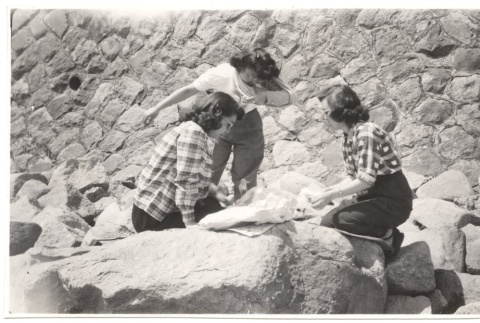 Seated on Rock Wall (ddr-one-2-425)