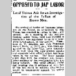 Opposed to Jap Labor. Local Unions Ask for an Investigation of the Influx of Brown Men. (April 19, 1900) (ddr-densho-56-4)