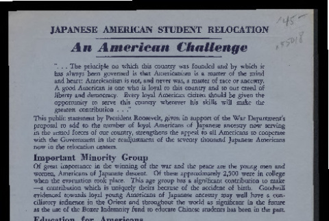 Japanese American student relocation: an American challenge (ddr-csujad-55-366)