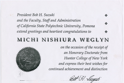 Certificate of Honorary Doctorate from California State Polytechnic University at Pomona (ddr-densho-122-556)