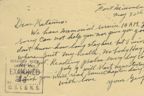 Postcard from Issei man to wife (May 30, 1942) (ddr-densho-140-97)