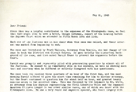 Letter from C. Walter Borton and Homer L. Morris to Dear Friend, May 21, 1943 (ddr-csujad-16-4)