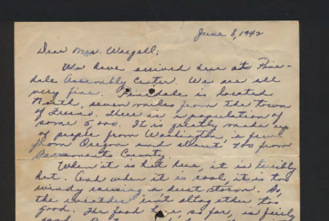 Letter from Mary Kuwabara to Mrs. Waegell, June 8, 1942 (ddr-csujad-55-2563)