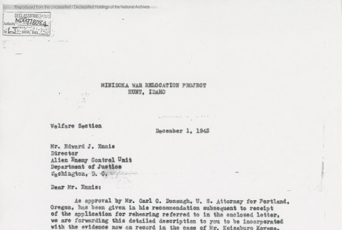 Unsigned letter from H. L. Stafford, Project Director at Minidoka War Relocation Project, to Edward J. Ennis, Director, Enemy Alien Control Unit, on the approval of Dr. Koyama's parole (ddr-one-5-242)