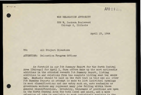 Memo from Vernon R. Kennedy, Relocation Supervisor, War Relocation Authority, to all Project Directors, April 15, 1944 (ddr-csujad-55-832)