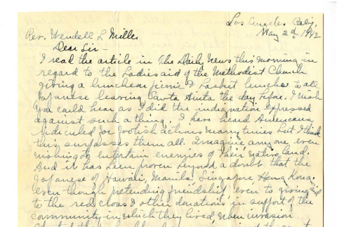 Letter from An American Mother to Rev. Wendell L. Miller, May 2, 1942 (ddr-csujad-20-1)