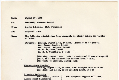 Camp Harmony, memo from George Ishihara, Hdqt. Personnel (ddr-densho-122-848)