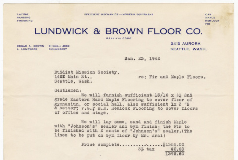Letter from Lundwick and Brown Floor Company to the Buddhist Mission Society (ddr-sbbt-4-53)