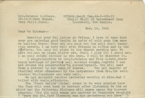 Letter from Issei man to wife (November 16, 1942) (ddr-densho-140-151)