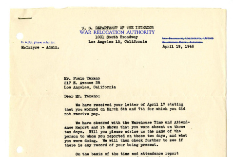 Letter from James L. Shelly, Area Supervisor, U.S. Department of the Interior, to Mr. Fumio Takano, April 19, 1946 (ddr-csujad-42-132)