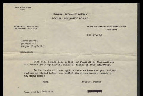 Letter from a manager, Federal Security Agency Social Security Board, to Union Market, November 27, 1940 (ddr-csujad-55-2178)