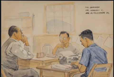 Painting of the administration office at Santa Fe Internment Camp (ddr-manz-2-26)