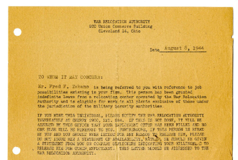 Letter from Fred W. Ross, Relocation Officer, War Relocation Authority, August 8, 1944 (ddr-csujad-42-105)