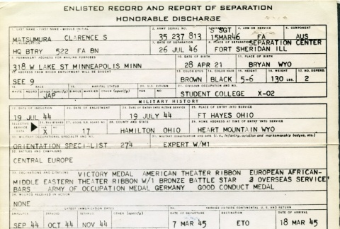 Enlisted record and report of separation (ddr-densho-22-93)