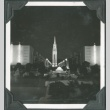 Night view of a tower and fountain at the Golden Gate International Exposition (ddr-densho-300-180)