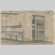 Drawing of the inside of a shower room at Tanforan Assembly Center (ddr-densho-392-21)