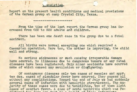 Report on the present health conditions and medical provisions of the German group at camp Crystal City, Texas (ddr-csujad-55-1396)