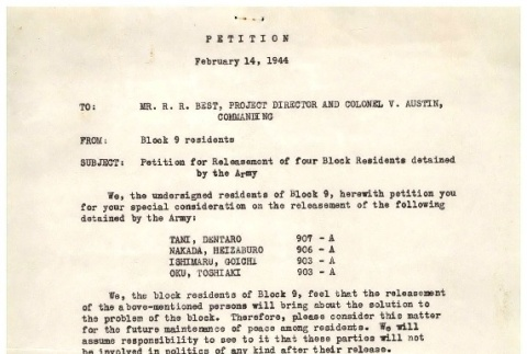Letter from residents of Block 9 to Raymond Best, Director of Tule Lake Camp and Colonel Verne Austin, Commander of Military Police, February 14, 1944 (ddr-csujad-2-7)
