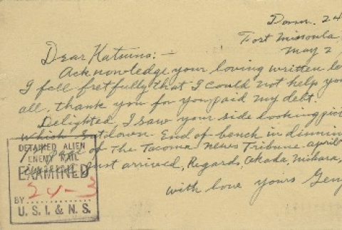 Postcard from Issei man to wife (May 2, 1942) (ddr-densho-140-79)