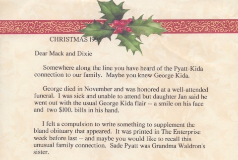 Christmas letter from Keith McCoy to Mack and Dixie. (ddr-one-3-107)