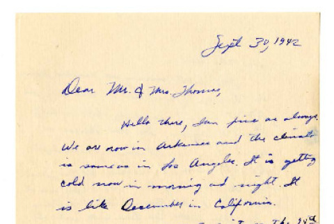 Letter from Usami Terada to Mr. Thomas, September 30, 1942 (ddr-csujad-4-13)