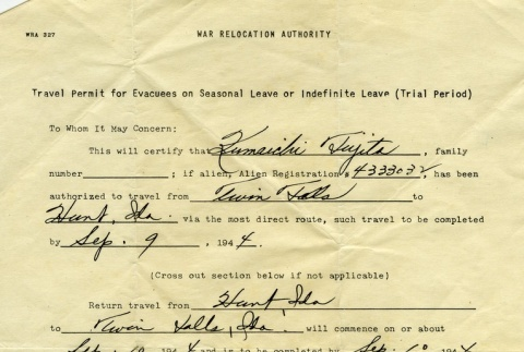 Travel Permit for Evacuees on Seasonal Leave or Indefinite Leave (Trial Period) (ddr-densho-203-6)