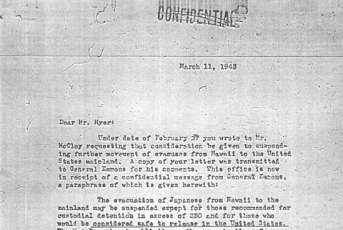 Letter from Col. William Scobey to Dillon Myer (ddr-densho-67-56)