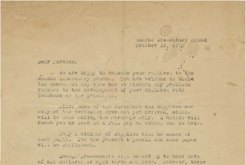 Welcome Letter to Amache Elementary School (ddr-csujad-7-33)