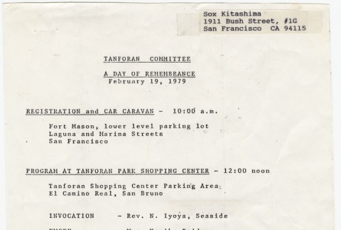 Program for the Tanforan Committee Day of Rememberance event (February 19, 1979) (ddr-janm-4-15)