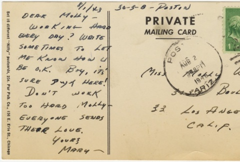 Postcard to Molly Wilson from Mary Murakami (August 1, 1943) (ddr-janm-1-27)