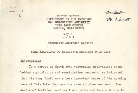 [Some reactions to selective service: Tule Lake] (ddr-csujad-2-58)